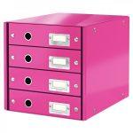 CLICK&STORE 4-fiókos irattároló 60490023 rózsaszín PROMO